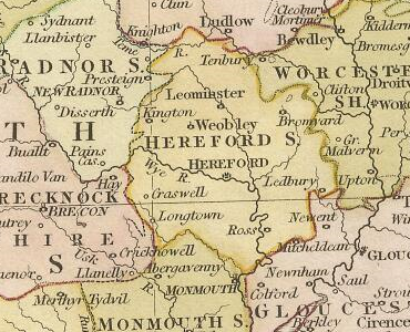 Image result for herefordshire map